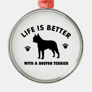 Diseño del perro del terrier de Boston Adorno Navideño Redondo De Metal