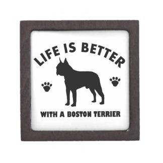 Diseño del perro del terrier de Boston Cajas De Recuerdo De Calidad