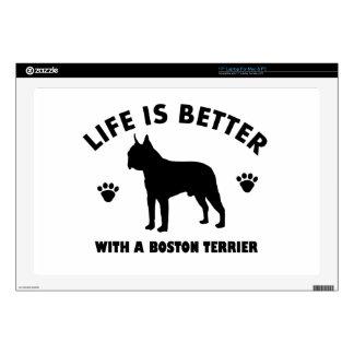 Diseño del perro del terrier de Boston Calcomanías Para Portátiles
