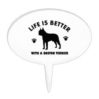Diseño del perro del terrier de Boston Figura De Tarta