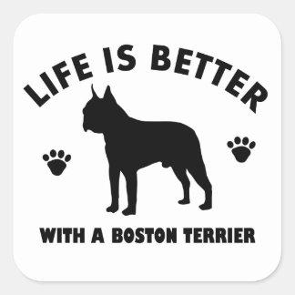 Diseño del perro del terrier de Boston Pegatina Cuadrada