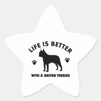Diseño del perro del terrier de Boston Pegatina En Forma De Estrella
