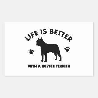 Diseño del perro del terrier de Boston Pegatina Rectangular
