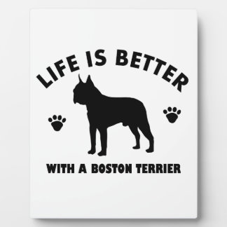 Diseño del perro del terrier de Boston Placas De Madera
