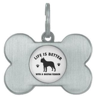 Diseño del perro del terrier de Boston Placas De Nombre De Mascota