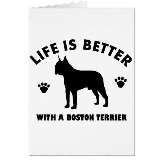 Diseño del perro del terrier de Boston Tarjeta De Felicitación