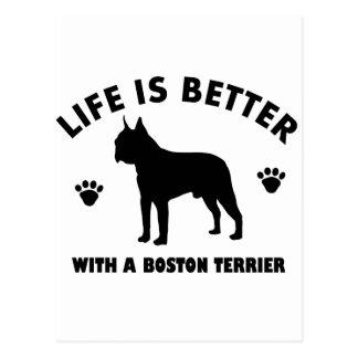 Diseño del perro del terrier de Boston Tarjetas Postales