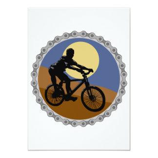 """diseño del piñón de cadena de la bici de montaña invitación 5"""" x 7"""""""