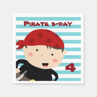 Diseño del pirata con el fondo rayado servilletas de papel