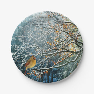 Diseño del placa-Pájaro del papel de la escena del Plato De Papel De 7 Pulgadas