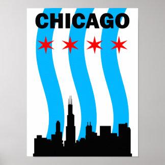 Diseño del poster de la bandera de Chicago