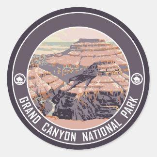 Diseño del poster del vintage del Gran Cañón Pegatinas Redondas