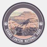 Diseño del poster del vintage del Gran Cañón Pegatina Redonda