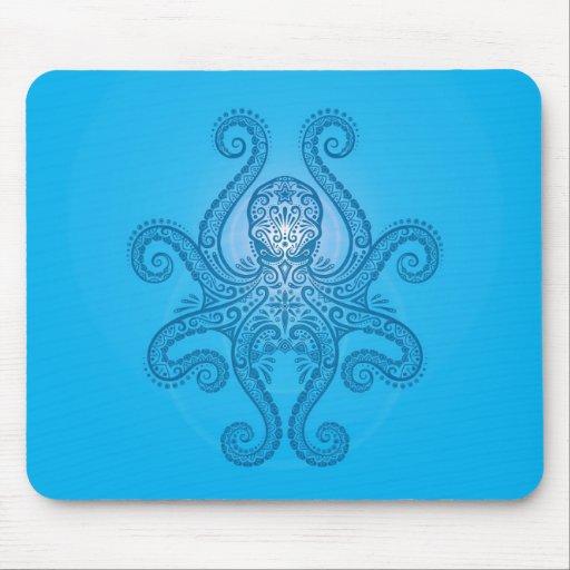 Diseño del pulpo - azul claro tapetes de ratón