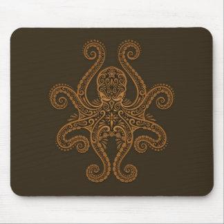 Diseño del pulpo (marrón) alfombrilla de ratón