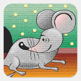 Diseño del ratón del dibujo animado pegatina cuadrada
