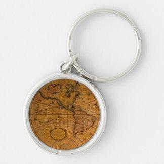 Diseño del regalo de Classc del mapa de Viejo Mund Llavero Redondo Plateado