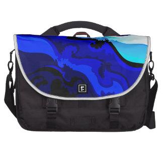 Diseño del remolino de la onda del azul de cobalto bolsas para portatil