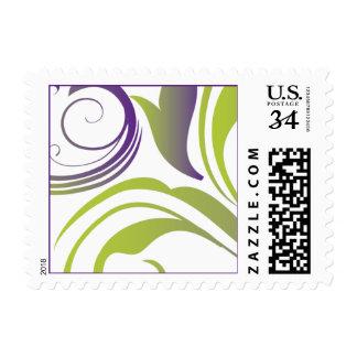Diseño del remolino de la púrpura y del verde timbres postales