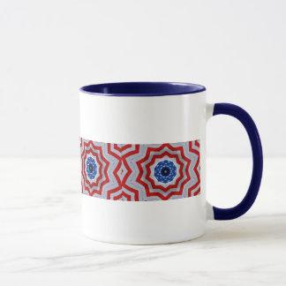Diseño del rojo, blanco y azul en la taza