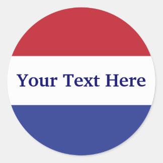 diseño del rojo del personalizar, blanco y azul etiquetas redondas