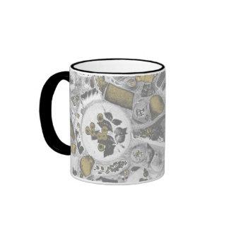 Diseño del rompecabezas de la cerámica taza de dos colores