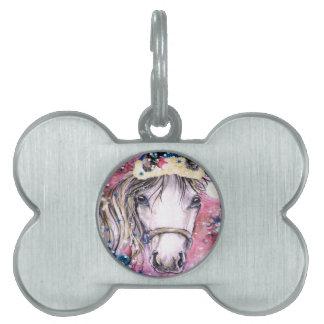 Diseño del rosa del caballo del día de fiesta placas de mascota