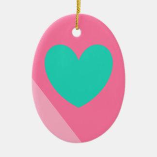 diseño del rosa y del corazón del trullo adorno ovalado de cerámica
