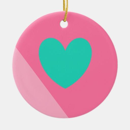 diseño del rosa y del corazón del trullo adorno redondo de cerámica