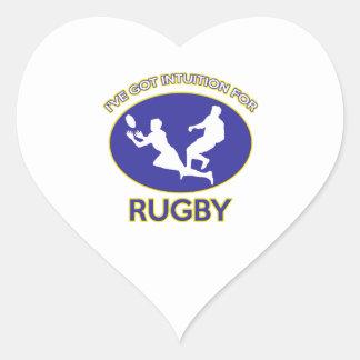 diseño del rugbi pegatina en forma de corazón