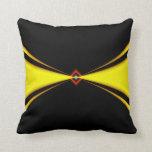 Diseño del satén del oro en negro almohada