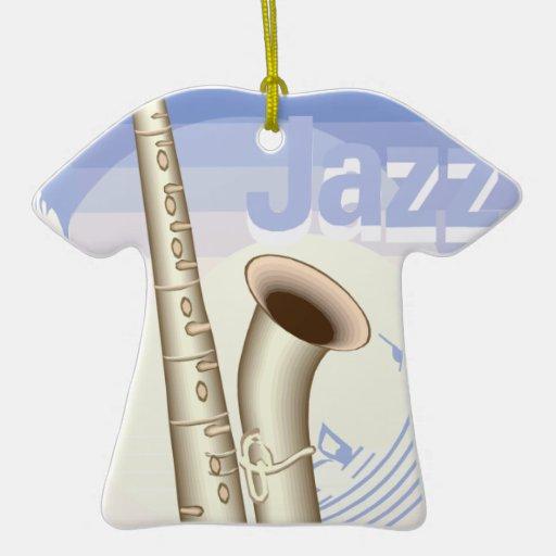 diseño del saxaphone del jazz adorno de cerámica en forma de camiseta