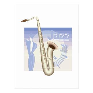 diseño del saxaphone del jazz postales