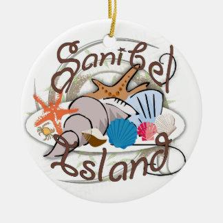 Diseño del seashell de la Florida de la isla de Adorno Redondo De Cerámica