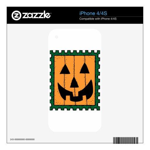Diseño del sello de la cara de la calabaza calcomanías para el iPhone 4S