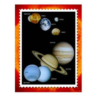 Diseño del sello de la Sistema Solar Tarjeta Postal