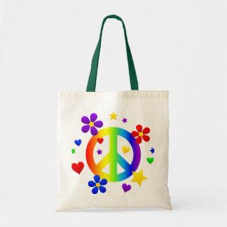 diseño del signo de la paz bolsa tela barata