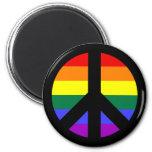Diseño del signo de la paz del arco iris iman de frigorífico