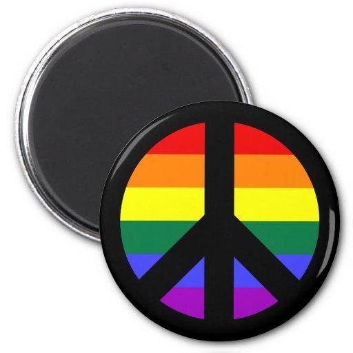 Diseño del signo de la paz del arco iris imán redondo 5 cm