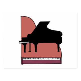 diseño del silouhette del piano tarjeta postal