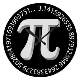 Diseño del símbolo del pi reloj redondo grande