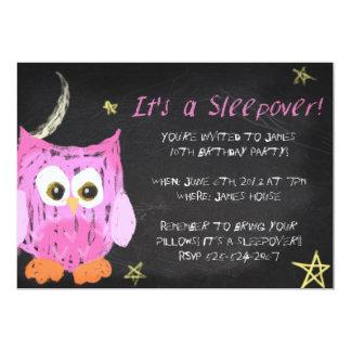 """Diseño del sleepover de la tiza Owl2 Invitación 5"""" X 7"""""""