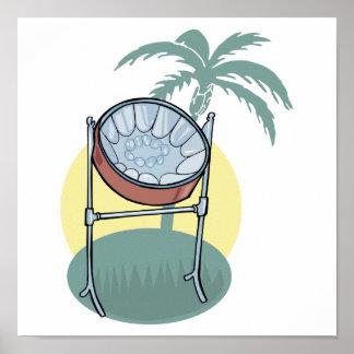 diseño del tambor de acero y de la palmera impresiones