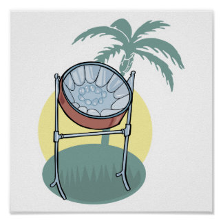 diseño del tambor de acero y de la palmera póster