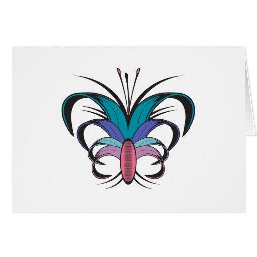 Diseño del tatuaje de la flor de mariposa tarjeta de felicitación