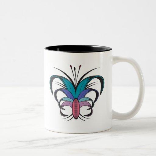 Diseño del tatuaje de la flor de mariposa taza dos tonos