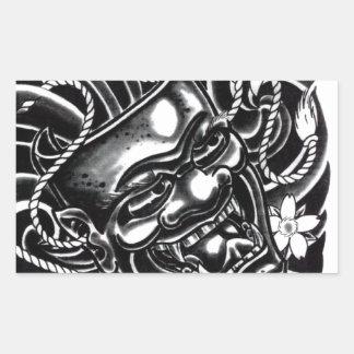 Diseño del tatuaje de la máscara de Hannya Pegatina Rectangular
