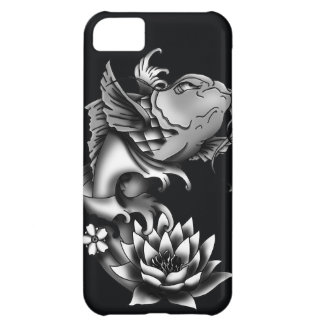 Diseño del tatuaje de los pescados de Koi - negro Carcasa Para iPhone 5C