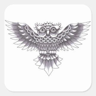 Diseño del tatuaje del búho de la escuela vieja pegatina cuadrada