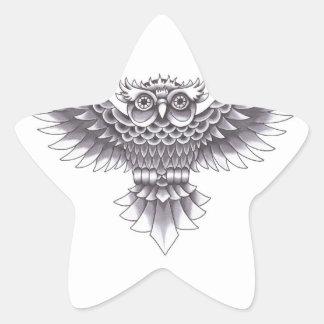 Diseño del tatuaje del búho de la escuela vieja pegatina en forma de estrella